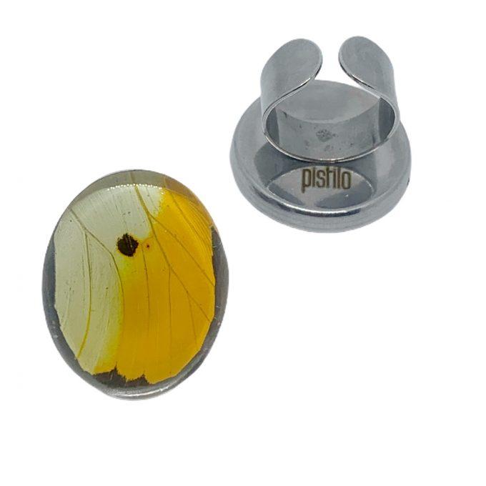 anillo acero mariposa