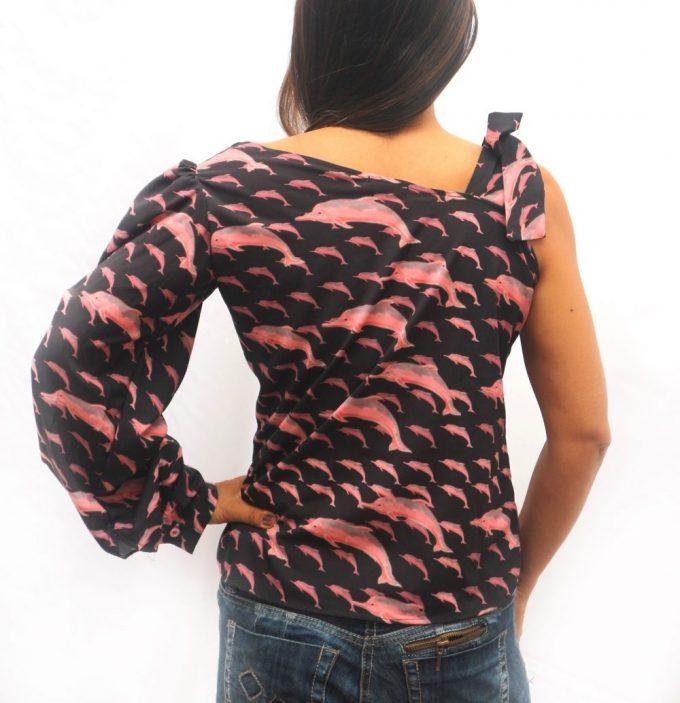 Blusa de 1 manga Delfin rosado