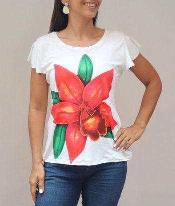 Camiseta Talla S Orquídea Cymbidium naranja
