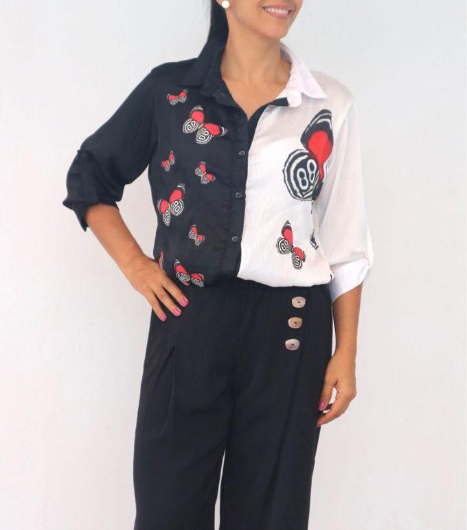 Camisa Black&White Talla L mariposa 89