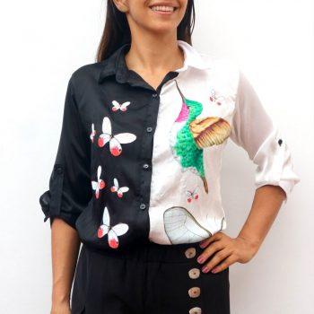 Camisa Black&White Talla M colibrí y Cithaeria