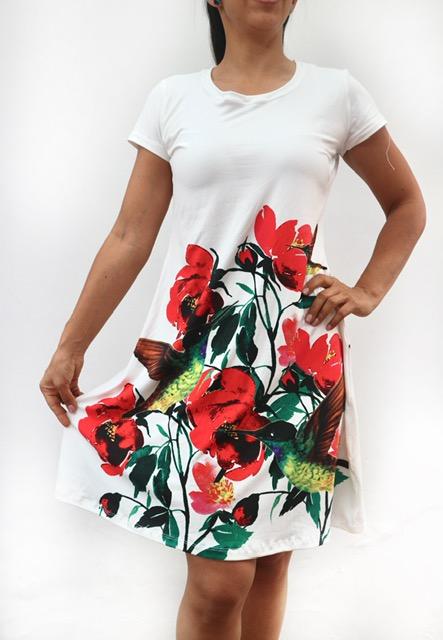 Vestido sport estilo batola colibrí y flores rojas