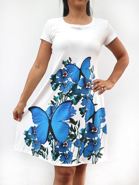 Vestido sport estilo batola Moprho didius y flores azules