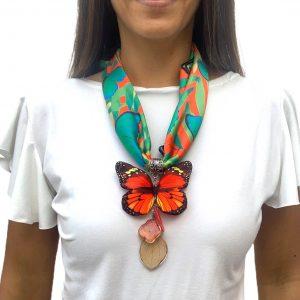 Pañoletas + Dije Mariposa Tela