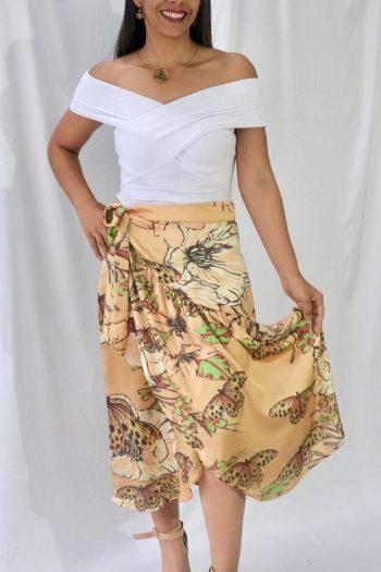 Falda Tulipán Mariposa Diva beige talla ajustable