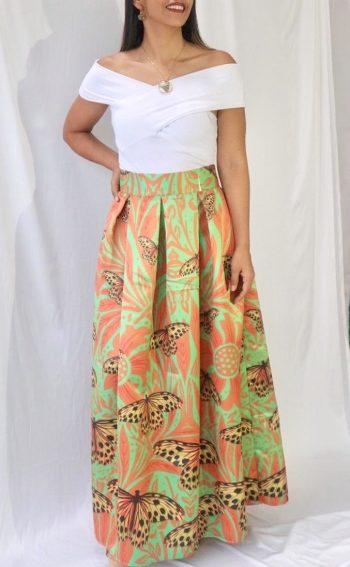 Falda larga talla L mariposa Diva